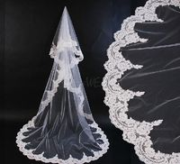 Charming Chapel Wedding Bridal Veil with Lace Applique Edge