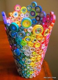 Cute recyclable craft. Make a colorful pot from magazine strips and hot glue. What a great idea!postto your board for later....