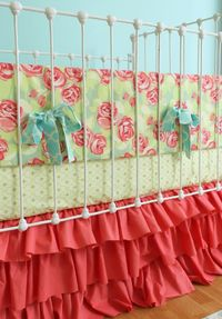 Coral Baby Girl Crib Bedding Tumbling Roses by LottieDaBaby, $425.00