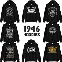 1946 Birthday Gift, Vintage Born in 1946 Hooded Sweatshirt for women men, 74th Birthday Hoodies for her him, Made in 1946 Hoodie 74 Year Old $23.99