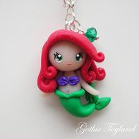 Kawaii Cuties Sweet Ariel Mermaid Pendant with Polymer Clay Disney