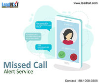 missed call alert service  LeadNXT Provide Missed Call Alert services that can be used for: Polling, Voting, Lead generation, Number verification, and much more. You can publish your unique missed call number in print media, website, app, and SMS campai...