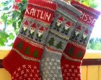 Hand knitted Wool Christmas Stocking Gnomes Trees ornaments Gray Green Red Personalized Christmas Decoration Gift