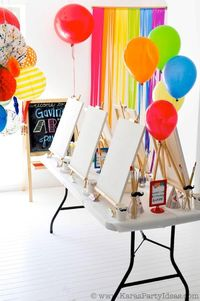 Art themed birthday party with a ton of ideas, free printables, recipes, diy tutorials , supplies and more! Rainbow themed party ideas, too!