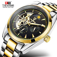TEVISE Automatic Mechanical Men Watch Tourbillon Self-Wind Leather and Stainless Steel Luxury Gold Wristwatch Hombre TVS04 $37.58