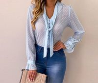 Elegant Flare Sleeve Office Party Polka Dot Women Blouse Shirt Top