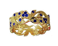 18K Yellow gold Leaves Band with 42 Sapphires Filigree Ring Milgrain Twig Ring $1170.20