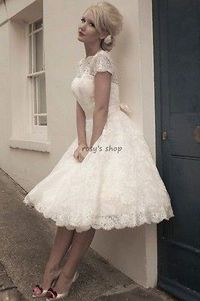 i love lace && the short dress. love it! Custom Made A-line Boat Neck Short Sleeve Vintage 50's Lace Short Wedding Dress