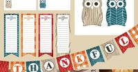 Fall Thanksgiving printable pack. Owls and houndstooth bunting, bag topper, cupcake topper, printable, place card and thankful list.
