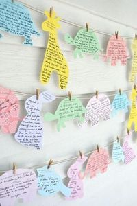 MyLittleCornerOfTheWorld- this is a cute idea!! Have elephant shape pieces of paper that people could write down prophetic words and prayers on for baby!! Super super like this