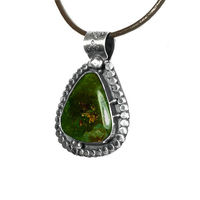 Unisex Green Boho Turquoise Pendant Necklace | Sterling Silver | Natural Nevada Gemstone | Leather $55.00