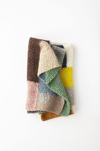 From Lena Corwin's new book Made By Hand - freeform knit throw by Erin Weckerle - posted on Purl Soho (uses 12 - 18 skeins of worsted twist)