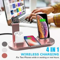 4 In 1 Qi Wireless Charger Phone Charger Watch Charger Earbuds Charger for Qi-enabled Smart Phones for iPhone for Samsung Apple Watch Apple AirPods Pro
