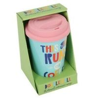 This girl runs on coffee travel mug! Perfect for a coffee loving lady who likes her coffee on the go !, Double walled ceramic thermal mug, Gift boxed