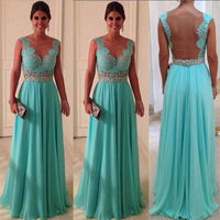 Long Blue Sheer Laced Fitted Bridesmaid Dresses On Sale