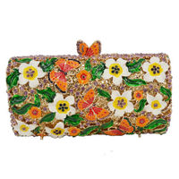 Women butterfly White Flower Crystal Evening Clutch Bag