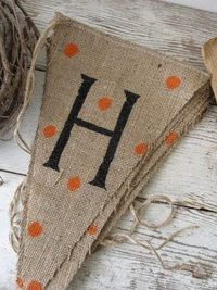 burlap and paint banner