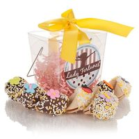 Spring Take Out Boxes are a wonderful gift of good fortune fior the season! Our lovely translucent frosted soft vinyl Take Out Boxes are filled with 6 individually wrapped fortune cookies. Hand-dipped in your choice of Belgian Chocolates -Dark Milk or Whi...