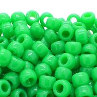 50 x Small Neon Green Plastic Pony Rondelle Beads. 4mm x 6mm. Hole size is 3mm. Perfect for Art, Crafts, Macrame, Weaving & Jewellery Making £2.19