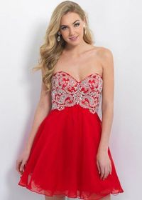 Red Strapless Embellished Bodice Blush 10083 Short Homecoming Dresses 2015