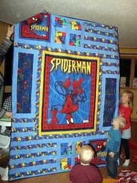 Super hero Spider-Man quilt--John's Daughter-- great pattern for a quilt panel that I'd like to use again!