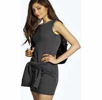 boohoo Sleeveless Sweat Tie Front Dress - charcoal No off-duty wardrobe is complete without a casual day dress. Basic bodycon dresses are always a winner and casual cami dresses a key piece for pairing with a polo neck , giving you that effortless eve htt...