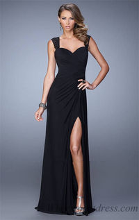 Long Slit Black Pleated La Femme La Femme 21310 Prom Dress