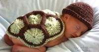 Baby photography - adorable crocheted turtle shell (w/ link to free pattern)