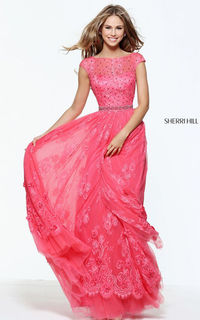 Floral Lace Coral Sherri Hill 50969 Beaded Long Prom Dress