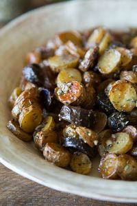 This Mustard and Herb Fingerling Potato Salad is a perfect side dish for any time of year. Serve it warm in the winter or at room temperature in the summer!