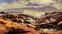 Crashing Waves Wall Art | Peaceful pastel toned landscape art on a beautiful Tasmanian beach with rock pools and crashing waves. Captured Granville Harbour, West Coast Tasmania, Australia | #australia #decoratingideas #beachart #granville #harbour #tasman...
