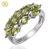 Hutang August Birthstone Natural Green Peridot Gemstone Sterling Silver 925 Ring $68.38
