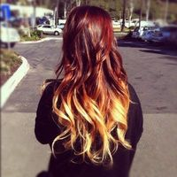 dark red to blonde ombre hair //