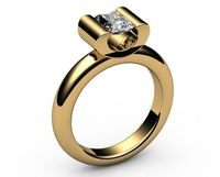 Solitaire Radiant Tension Ring 18K Gold Diamond Engagement ring Radiant cut Diamond Ring $2590.00