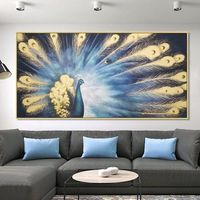 Peacock decor wall Pictures Abstract Paintings on Canvas original art animal art Gold art cuadro abstracto large wall art home decor $229.00