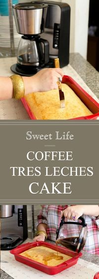 This hard-to-resist Coffee Tres Leches Cake is perfect for entertaining during holiday season. Soaked in freshly brewed coffee and topped with whipped cream and grated chocolate, this creamy tres leches cake is so irresistible, it's sure to be the s...