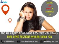 Getting low marks in your academics? At IMPtutor, we're here to help students and parents in finding the right tutor. We are the best provider of Private Home Tuitions In Pune and other cities. Also, you'll find local tutors near you for takin...