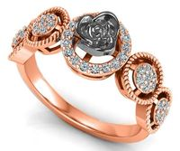 2 Tone 18K Rose gold Flower Ring Promise Ring Unique Engagement Ring with Side Diamonds Floral ring Birthday Gift For Her $975.00