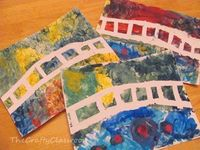 Monet's Bridge Over a Pond of Water Lillies using tempera paint and masking tape.