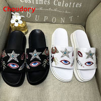 Embroidery Slippers Summer Gladiator Sandals Women Flats Platform Dress Shoes Woman Open Toe Cute Flip Flops Rhinestone Slippers