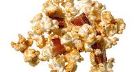 Bad Pun, but good for a movie night: Kevin Bacon Popcorn: Directions Place 16 slices bacon on a rack in a baking pan, top with 1/2 cup brown sugar and bake at 400 degrees until crisp, 12 minutes; chop. Make stove-popped corn using bacon drippings in place...
