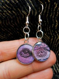Mismatched Eye Earrings | 'Eye'M All Yours' A Series Of Unique Drawings Cast In Resin | Serene Jewelry | Ink On Vellum And Paper | $25.00