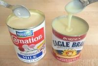 Oh no! Should I really know how to make Eagle Brand milk from SCRATCH?? ....... YES. 3/4 cup powdered milk 3/4 cup sugar 1/2 cup hot water Blend until smooth. This recipe equals one can of store bought condensed milk.   See more about milk cup, hot water ...