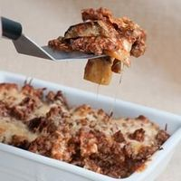 Eggplant and Ground Beef Lasagna   Ground beef, cheese, and thinly sliced eggplant make this a hearty lasagna.