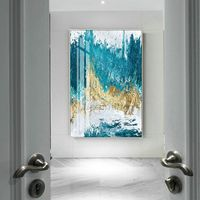 Gold leaf Modern Abstract acrylic painting on canvas art original Large wall art blue painting wall pictures cuadros abstractos hand-painted $123.75