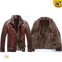 Patented Leather Jackets   CWMALLS® Men Shearling Leather Jacket CW808011[Custom Made, Father's Day Gifts]