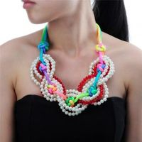 Fashion Jewelry Chain Colorful Resin Pearl Crystal Choker Chunky Statement Bib Necklace