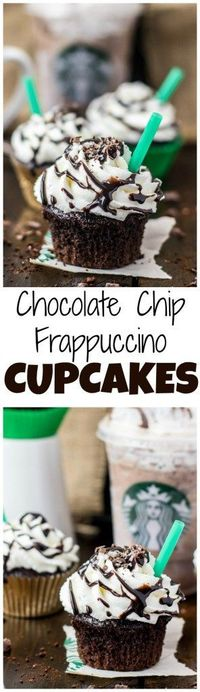 Inspired by the Starbucks Double Chocolate Chip Frappuccino, these insanely chocolaty cupcakes are flavored with just a hint of coffee, bursting with chocolate