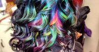 "Dark rainbow hair ""I used Blue, Green, Yellow, and Magenta.�€"