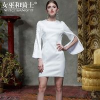 Vogue Slimming Flare Sleeves Sheath Scoop Neck Accessories Spring Formal Wear Dress - Bonny YZOZO Boutique Store